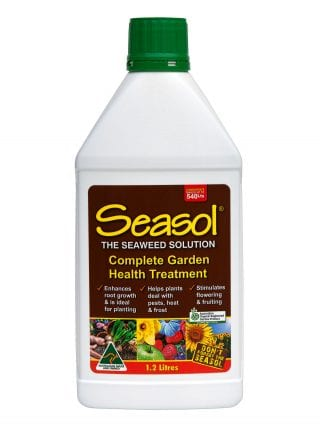 Seasol 1.2 litre hose-on seaweed concentrate is a complete garden health treatment.