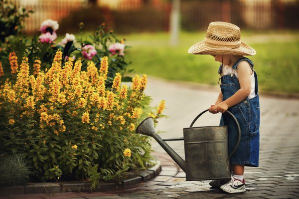 little girl watering the garden